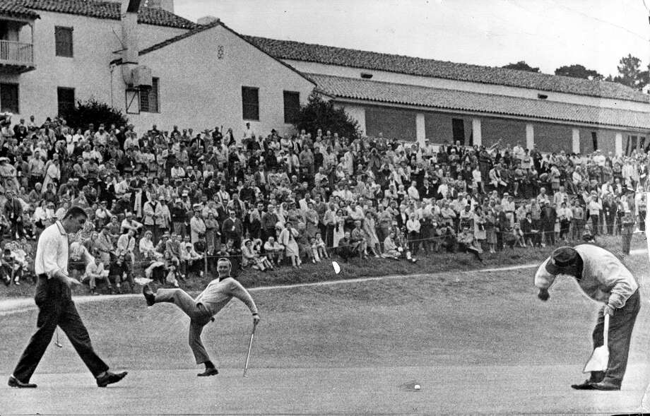 Arnold Palmer tries to will his putt into the hole at the 1963 Crosby National Pro-Am Golf Tournament. Photo: Xx
