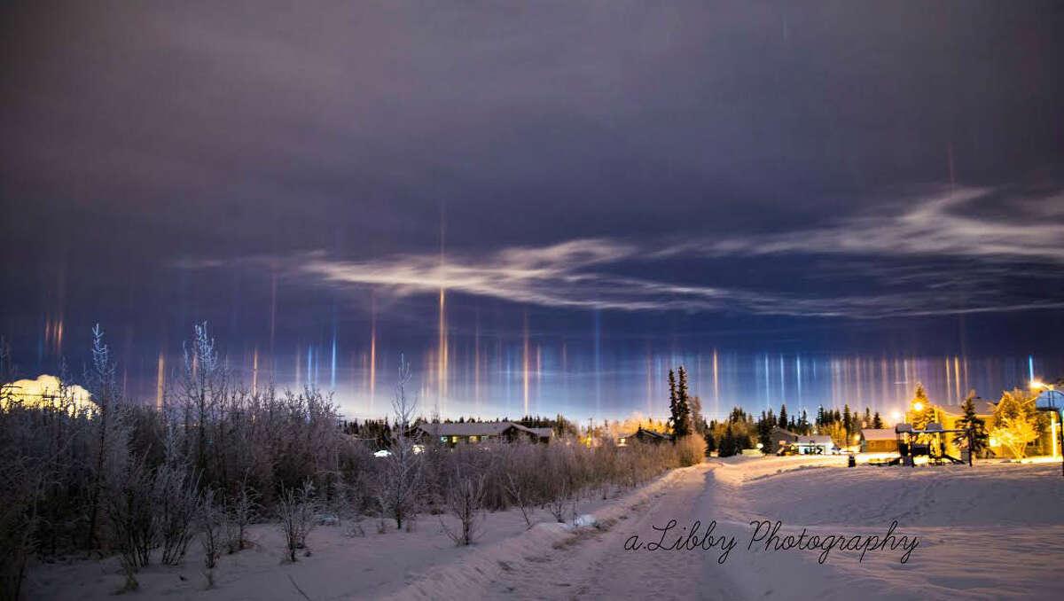 Light pillars scene in Fort Wainwright near Fairbanks in central Alaska. Photo by A.Libby Photography