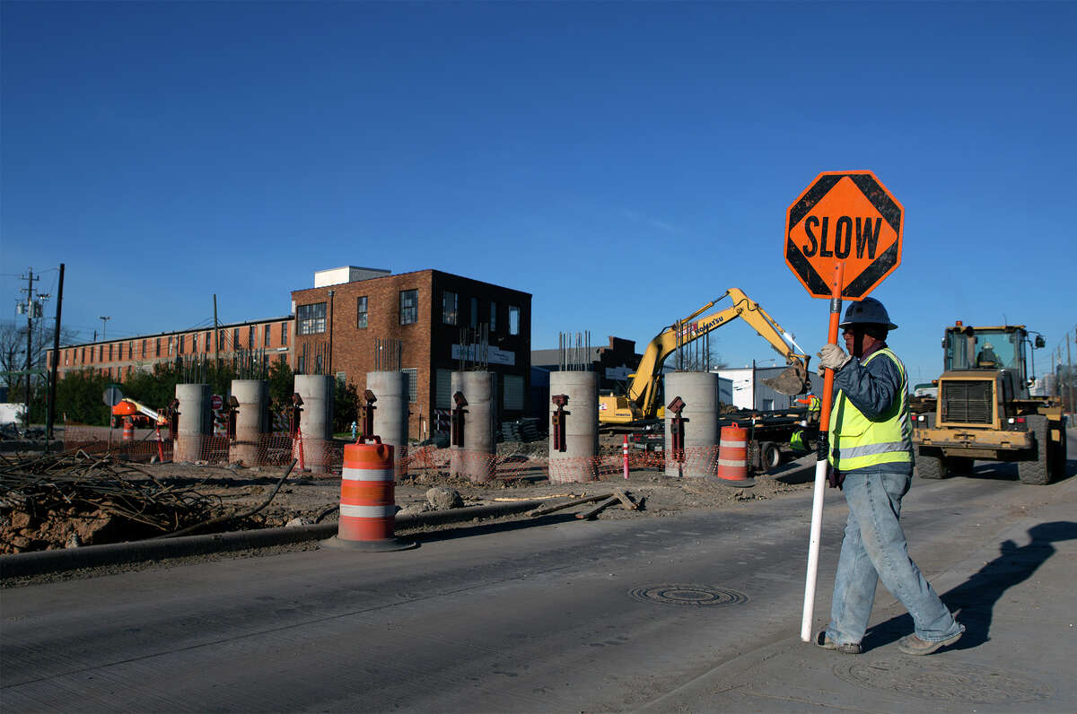 Road construction continues along Harrisburg on Feb. 8. The road will close for three months, starting March 13, to build a light rail overpass.