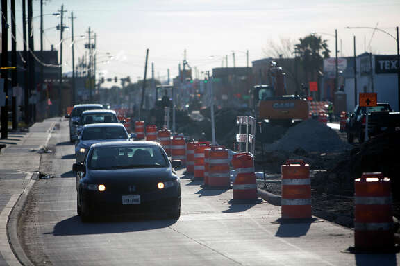 Road construction takes place along Harrisburg Blvd., Monday, Feb. 8, 2016, in Houston.