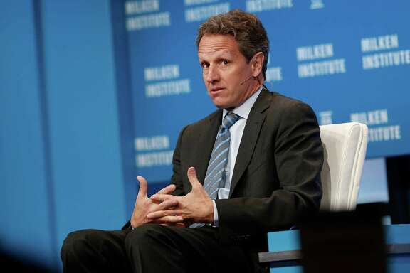 Timothy Geithner, president of Warburg Pincus and former Treasury secretary, at the annual Milken Institute Global Conference in Beverly Hills, California, in April. Geithner has secured a credit line with JPMorgan, one of the largest banks he oversaw during the financial crisis, to finance personal investments in funds started by Warburg Pincus, according to a filing with the New York Department of State. MUST CREDIT: Bloomberg photo by Patrick T. Fallon.