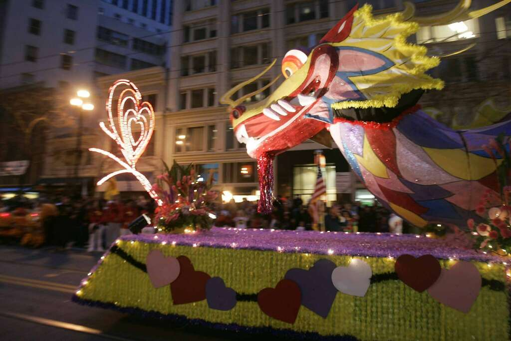 southwest airlines float makes its way down market st the san francisco chinese new - San Francisco Chinese New Year