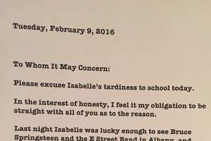 Local dad writes letter to school saying Bruce Springsteen is to blame for daughter's tardiness - Photo