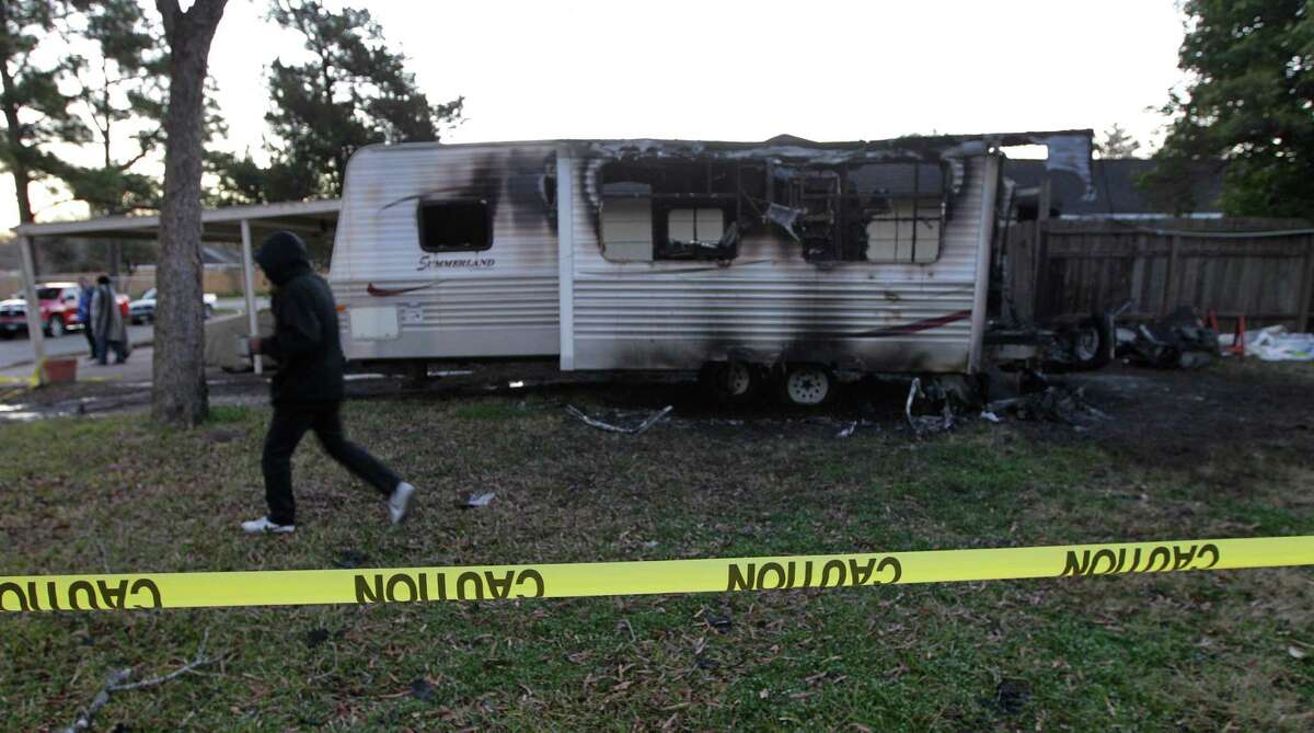 One dead at mobile home fire at 6046 Westover Tuesday, Feb. 9, 2016, in Houston.
