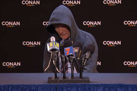 Conan O'Brien mocks Cam Newton's Super Bowl postgame press conference.