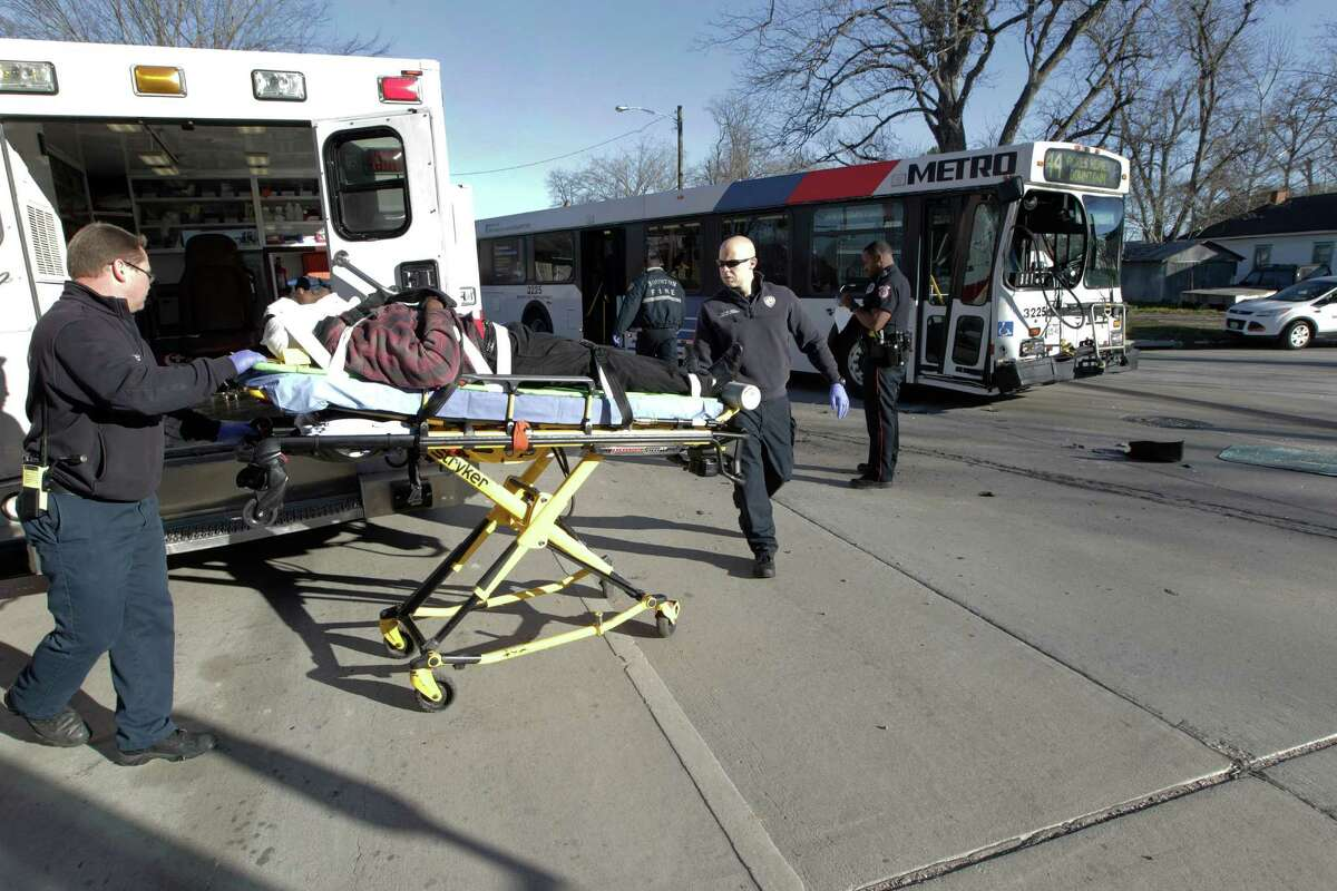 A Metro bus and a dump struck collide in 6800 block of N. Main. As many as ten people riding bus claimed injury and were transported to area hospitals Tuesday, Feb. 9, 2016, in Houston.