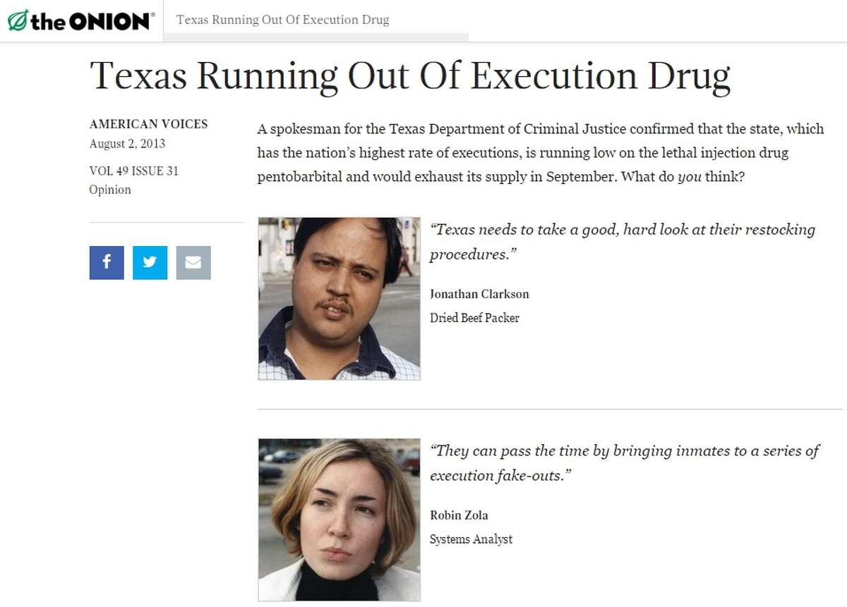 """Executions - """"Texas running out of execution drug"""" The """"American Voices"""" feature offers a folksy, man-on-the-street point of view. Read the full article at TheOnion.com"""