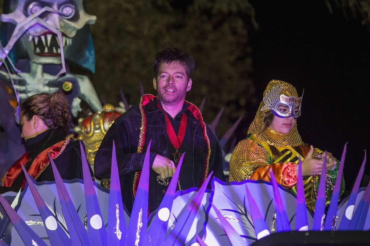 Harry Connick, Jr. (center) rides in the Krewe of Orpheus parade on Feb. 8, 2016 in New Orleans.