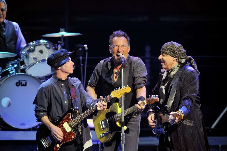 """Nils Lofgren, left, Bruce Springsteen, center, and Stevie Van Zandt along with the other members of The E Street Band perform at the Times Union Center for their tour to promote their remastered release of the double album  """"The River"""" on Monday, Feb. 8, 2016, in Albany, N.Y.  (Paul Buckowski / Times Union) Photo: PAUL BUCKOWSKI / 10035325A"""