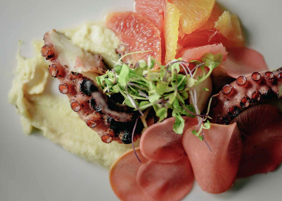 Charred octopus with celery root puree, local citrus and radishes at the Durham House, 1200 Durham. The restaurant has a new executive chef, Mike McElroy, who has updated the menu.