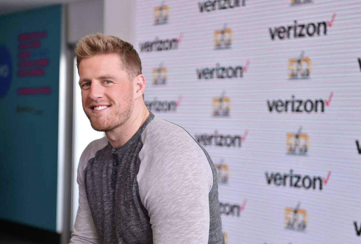 SAN FRANCISCO, CA - FEBRUARY 04: Houston Texans defensive end JJ Watt and actress and recording artist Victoria Justice participate in the Â