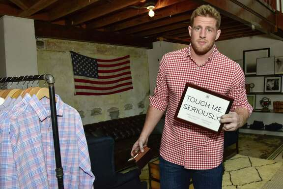 SAN FRANCISCO, CA - FEBRUARY 04:  J.J. Watt attends the J.J. Watt At Mizzen+Main Pop-Up Shop In San Francisco on February 4, 2016 in San Francisco, California.  (Photo by Eugene Gologursky/Getty Images for Mizzen+Main)
