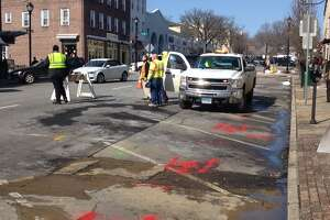 Water-line break on Greenwich Avenue - Photo