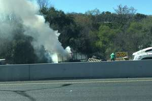 San Antonio fire crews respond to trailer fire on Highway 90 - Photo