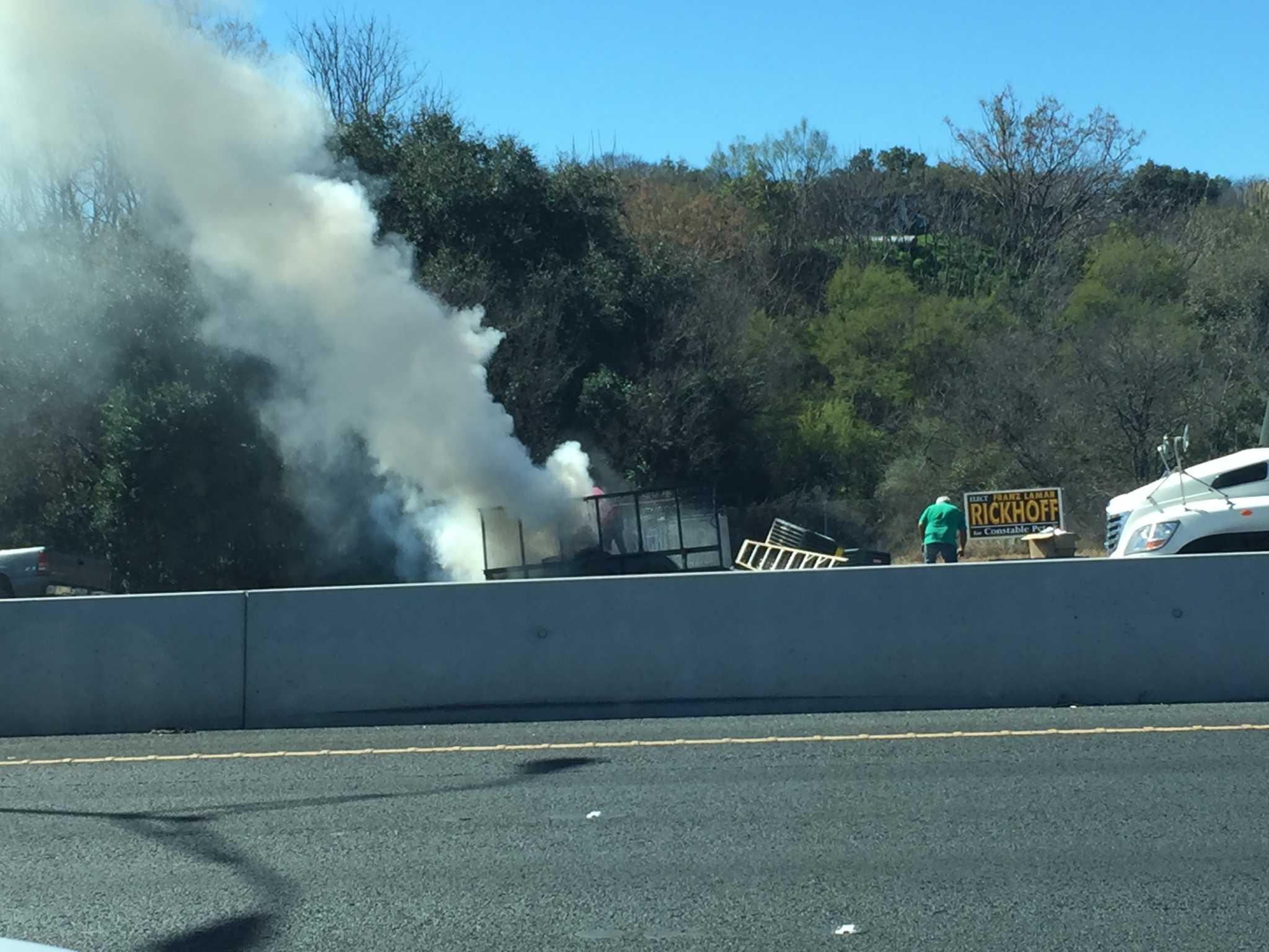 san antonio fire crews respond to trailer fire on highway 90