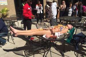 Nearly nude Texas State student wears Chick-Fil-A - Photo