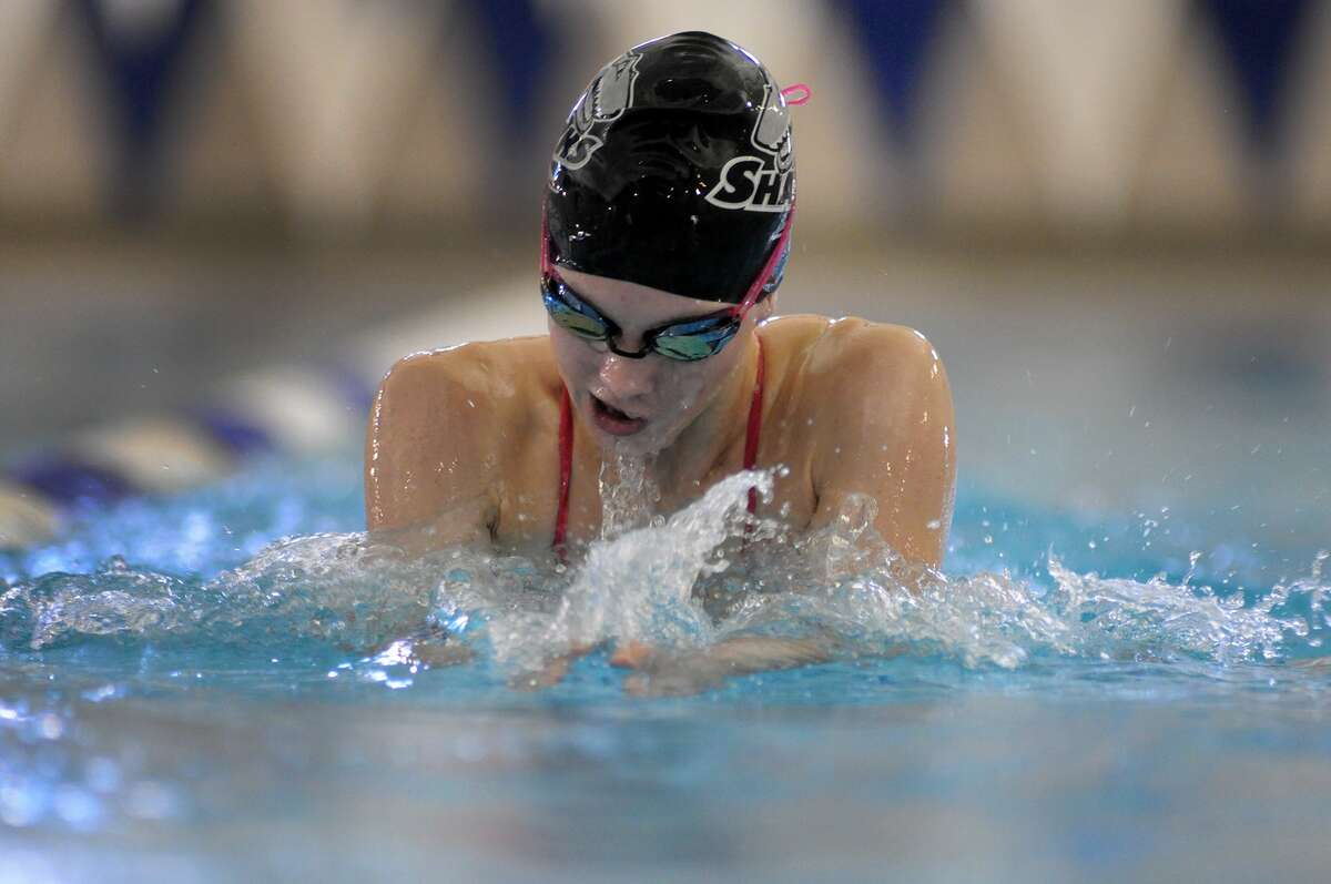 Friendswood High School sophomore Sydney Gurry practices her breaststroke during a team workout at the Friendswood Natatorium on Jan. 26.