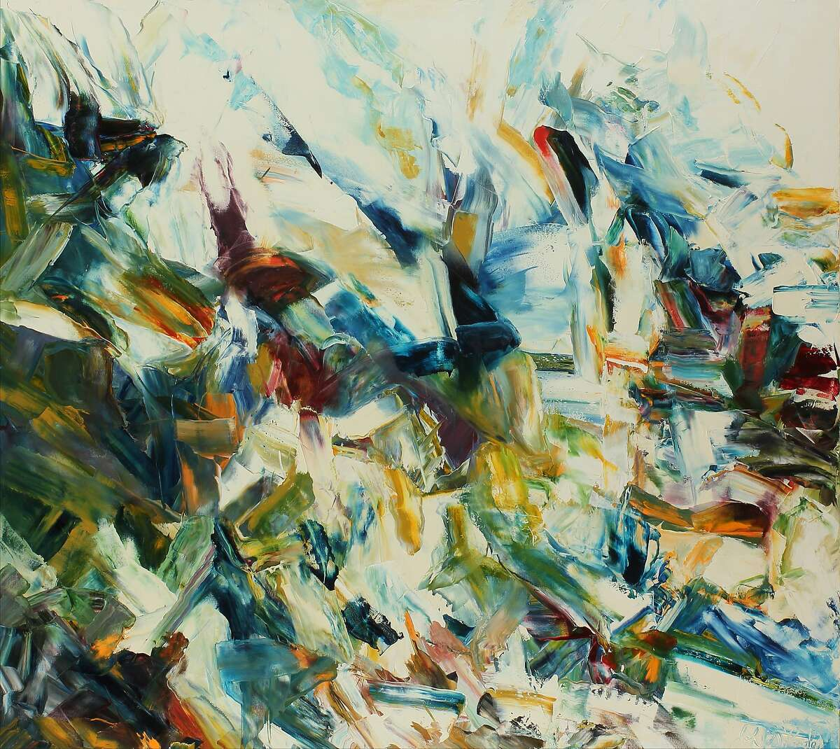 """John DiPaolo's 63-by-70-inch oil on canvas work """"Drifter #6"""" (2015-16) is in """"John DiPaolo"""" through Feb. 27 at Dolby Chadwick Gallery."""