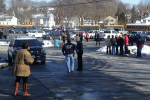 Stamford High School being evacuated - Photo