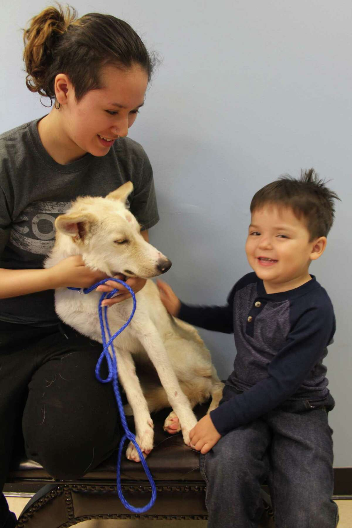 Savannah Morales of Alvin and her son, Avann Colin, 3, spend time with a dog they are adopting from Fort Bend County Animal Services. The dog is on the center's PUSH list, which recently included 105 dogs and 27 cats.
