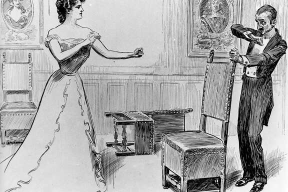 circa 1880:  Stories of unhappy marriages brought forth drawings such as these, warning noblemen to treat their American wives with kindness.  (Photo by Three Lions/Getty Images)