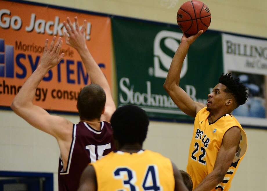 Montana State-Billings' Emmanuel Johnson, a former Brackenridge star, goes up for a floater during the 2015-16 season for the Division II Yellowjackets. Photo: Courtesy Photo /Montana State-Billings Athletics