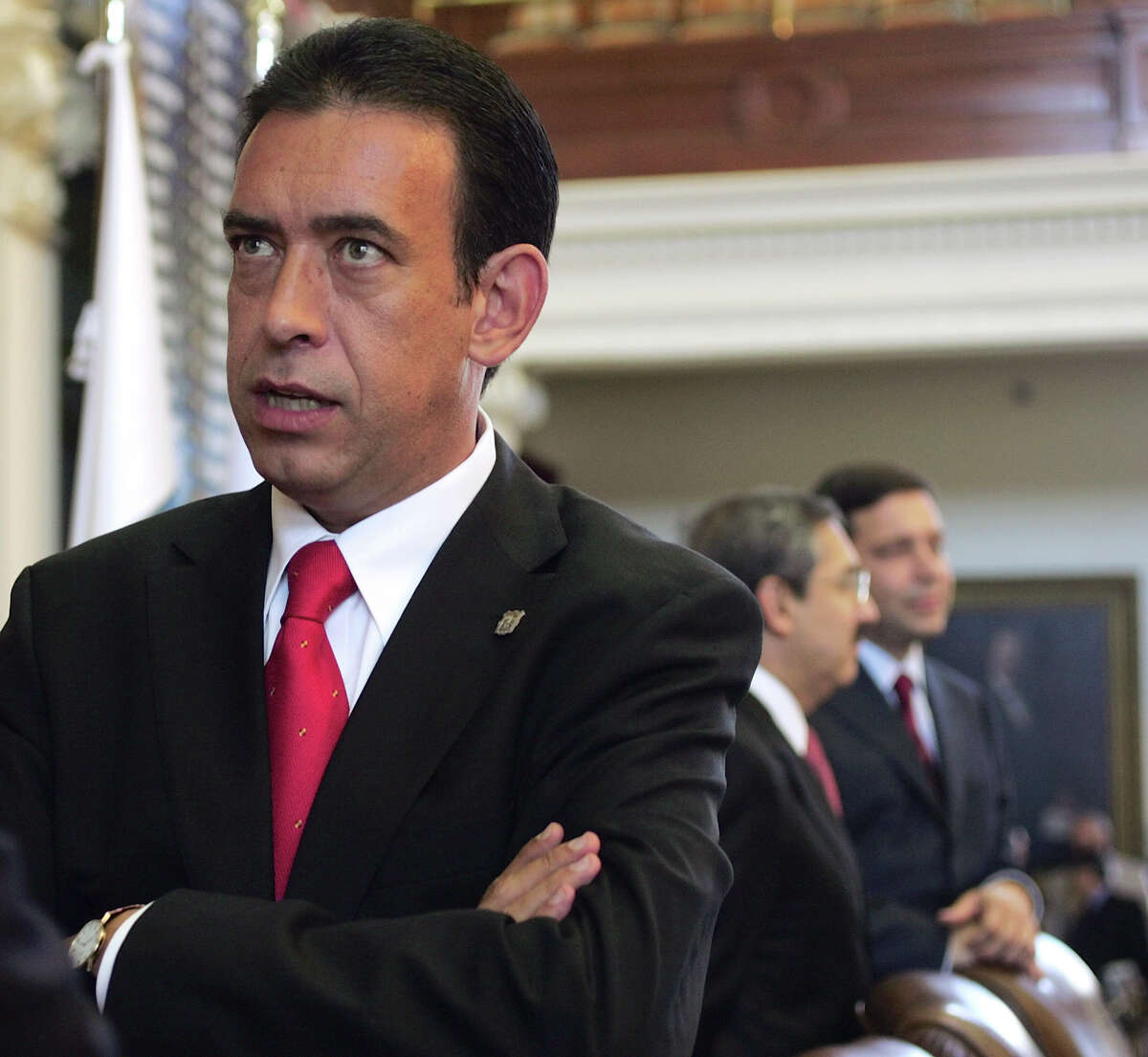 In this Aug. 24, 2006 file photo, Coahuila, Mexico, Gov. Humberto Moreira Valdes talks with another governor before the opening ceremony of the border governors conference in the Texas Capitol in Austin, Texas. Moreira, head of Mexico's Institutional Revolutionary Party, PRI, resigned Friday, Dec. 2, 2011 over a financial scandal that threatened the party's efforts to rebrand itself as corruption-free and retake the presidency in 2012. (AP Photo/Harry Cabluck, File)