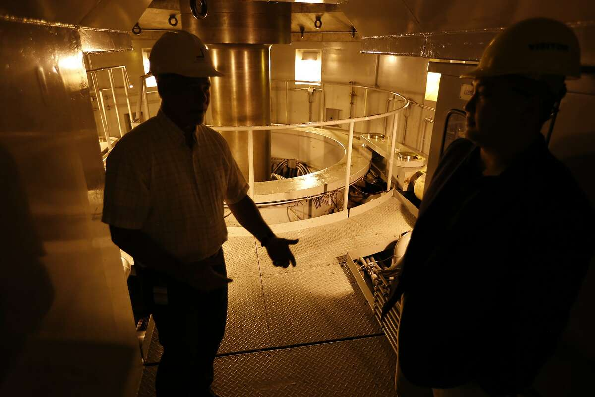BIG CREEK, CA - JULY 28, 2015: Production manager Joel Preheim walks near the generator buried in 1,000 feet in granite rock at Southern California Edison's Big Creek John S. Eastwood Power Station, the crown jewel of Southern California Edison's Big Creek hydro-electric system which has produced cheap and reliable electricity for decades but now the drought may sideline the station on JULY 28, 2015. (Photo by Al Seib / Los Angels Times via Getty Images)