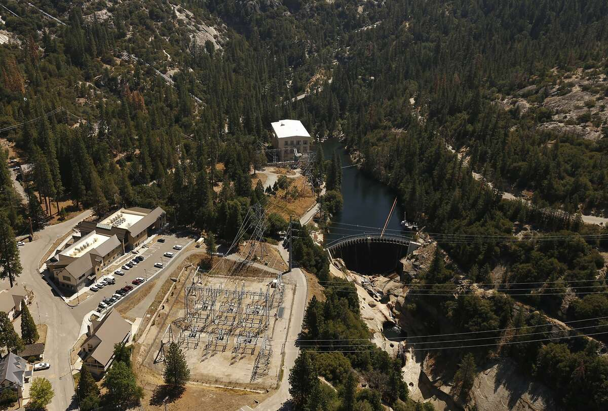 """BIG CREEK, CA - JULY 28, 2015: Big Creek Power House 1 in Southern California Edison's Big Creek hydro-electric system which serves as the home to one of the largest and most extensive hydroelectric projects in the world. Southern California Edison owns and operates the engineering feat, commonly referred to as the Big Creek Project and dubbed """"The Hardest Working Water in the World."""" Southern California Edison's Big Creek John S. Eastwood Power Station has produced cheap and reliable electricity for decades but now the drought may sideline the station on JULY 28, 2015. (Photo by Al Seib / Los Angels Times via Getty Images)"""