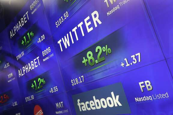 Electronic screens post prices of Alphabet, Twitter and Facebook stock, Monday, Feb. 1, 2016, at the Nasdaq MarketSite in New York. Alphabet, the parent company of Google, reports quarterly earnings Monday. (AP Photo/Mark Lennihan)
