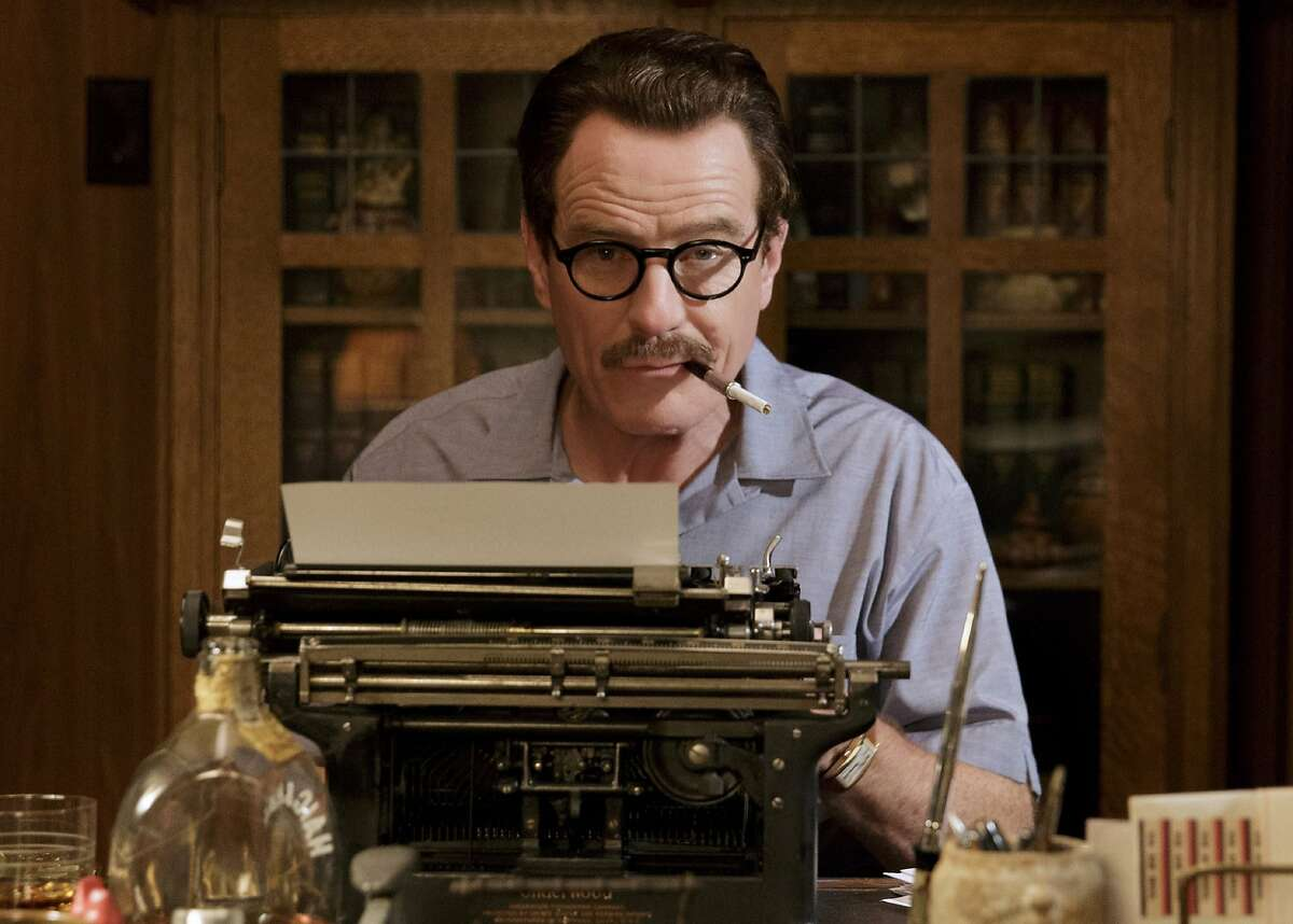 """A MAN AND HIS TYPEWRITER Bryan Cranston is nominated for playing legendary screenwriter Dalton Trumbo. Dalton Trumbo won two screenwriting Oscars, but """"Dalton Trumbo"""" never won any. Huh? To Commie Hunters of the time, that must have seemed Rich. Yes, those were clues. Photo by Hilary Bronwyn Gayle / Courtesy of Bleecker Street Media"""