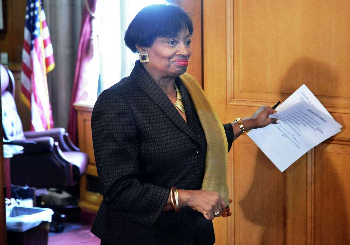 Senate Democratic Leader Andrea Stewart-Cousins enters a news conference as the Senate Democratic Conference unveils a set of policy initiatives to help New York families during the critical early childhood period on Tuesday, Feb. 9, 2016, during a news conference at the Capitol in Albany, N.Y. (John Carl D'Annibale / Times Union)