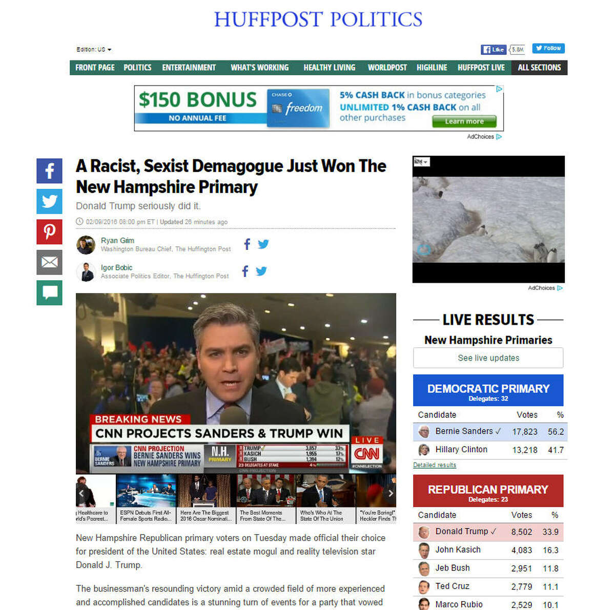 The Huffington Post didn't spare their opinion in the New Hampshire primary results with this store.