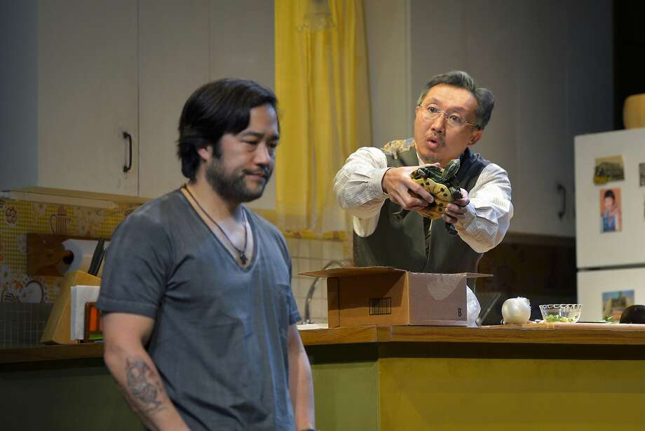 "Ray (Tim Kang, left) talks with Uncle (Joseph Steven Yang) in Julia Cho's ""Aubergine"" at Berkeley Repertory Theatre. Photo: Kevinberne.com"