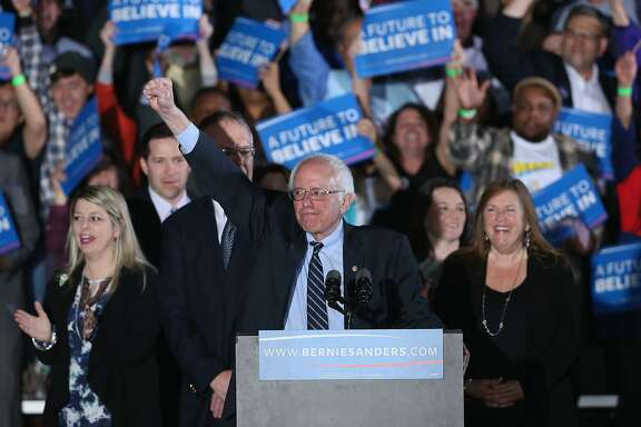 CONCORD, NH - FEBRUARY 09:  Democratic presidential candidate Bernie Sanders speaks to supporters after winning the New Hampshire Democratic Primary February 9, 2016 in Concord, New Hampshire.  (Photo by Win McNamee/Getty Images)