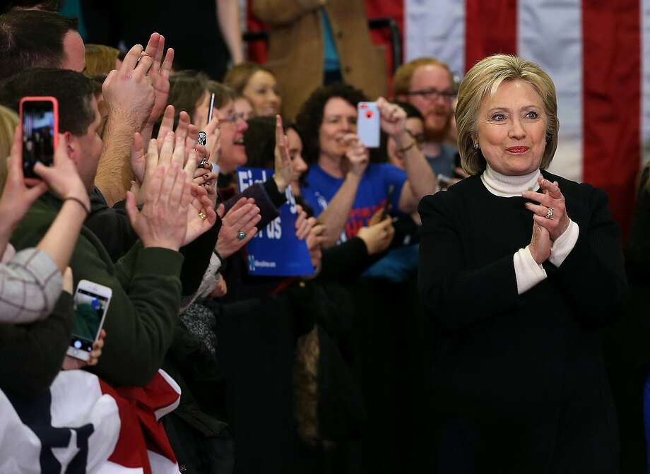 Democratic presidential candidate Hillary Clinton arrives for her primary night gathering at Southern New Hampshire University on February 9. Photo: Justin Sullivan, Getty Images