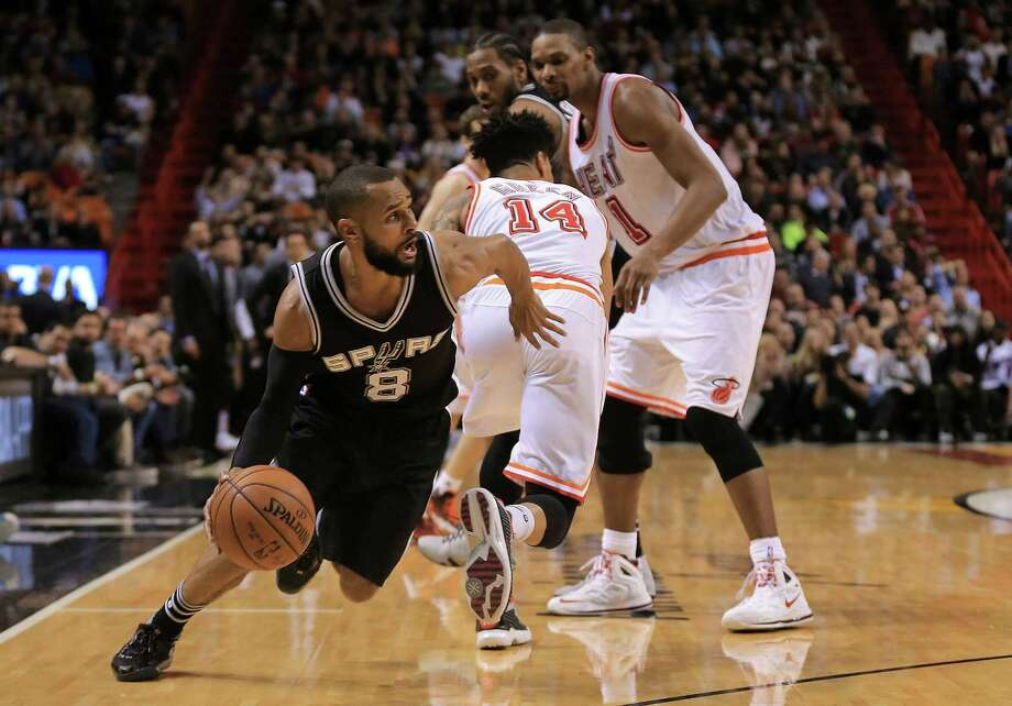 MIAMI, FL - FEBRUARY 09: Patty Mills #8 of the San Antonio Spurs drives to the basket during a game against the Miami Heat at American Airlines Arena on February 9, 2016 in Miami, Florida. NOTE TO USER: User expressly acknowledges and agrees that, by downloading and/or using this photograph, user is consenting to the terms and conditions of the Getty Images License Agreement. Mandatory copyright notice: Photo: Mike Ehrmann, Getty Images / 2016 Getty Images