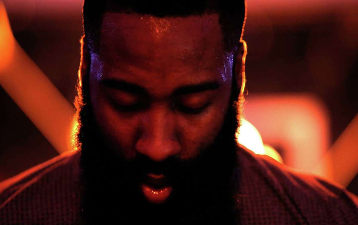 James Harden, standing for the national anthem before a game at Golden State, said he doesn't expect any protests in the NBA.