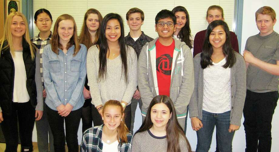 Students of the Month at Staples High School selected for February inlcude, back row from left, Sophia Han, Olivia Payne, Nicholas Rossi, Alexandra Levins, Willemijn ten Cate and Liam Borner; middle row,  Lauren Stack, Emma Cataldo, Vanessa Eng, Sudhanshu Mathur and Mia Krishnamurthy, and front row,  Kayla Sirlin and Kendall Kowalsky. Absent from photo was John McNab. Photo: Contributed Photo / Contributed Photo / Westport News
