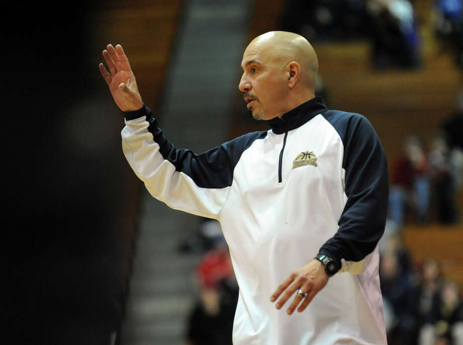 Notre Dame-Fairfield boys basketball coach Vinny Laczkoski recently captured his 300th career coaching win. The Lancers coach, now in his 10th season, had been out of coaching for three years before ND-Fairfield president Father Bill Sangiovanni gave him a second chance. Photo: Christian Abraham / ST / Connecticut Post