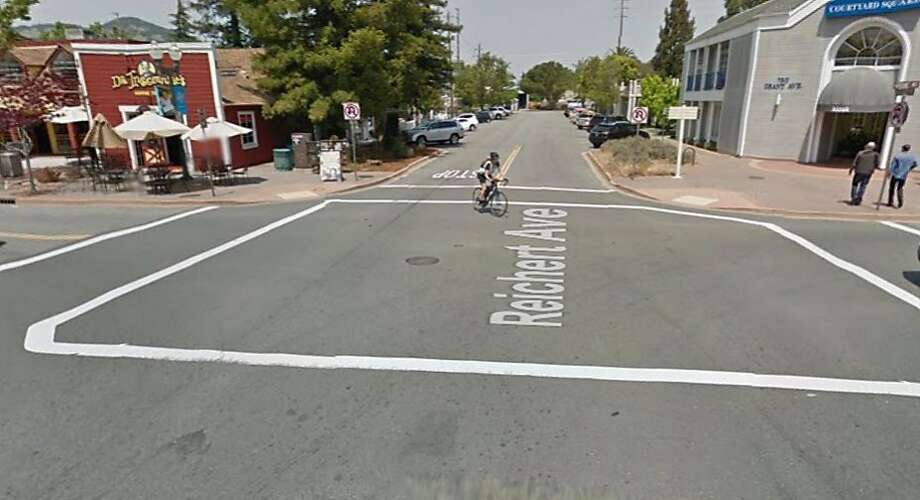 A Google street view image shows the crosswalk where a woman and a 1-year-old baby were struck in Novato on Tuesday. Photo: Google Maps