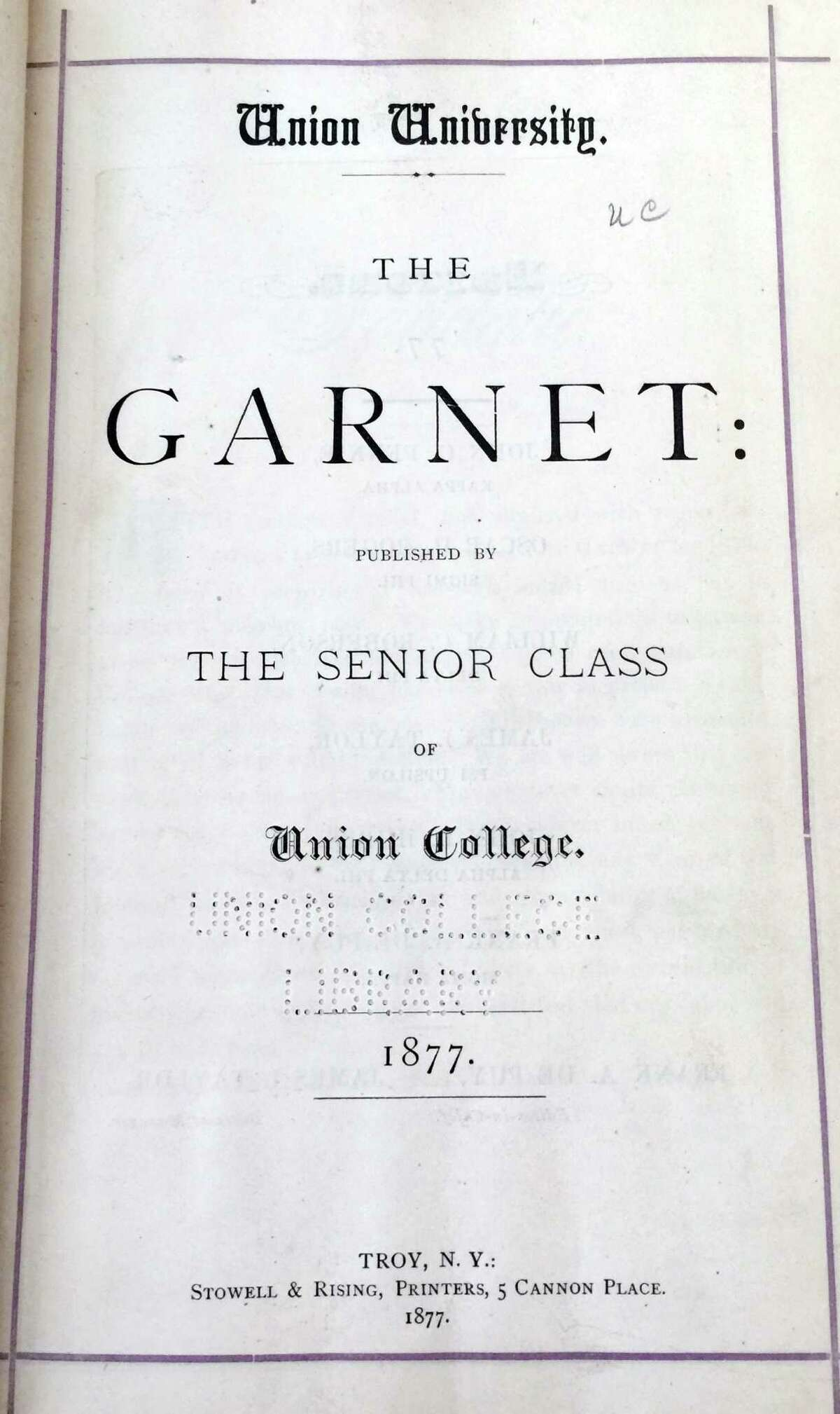 The inside cover of the first ever issue of The Garnet, the Union College yearbook, which was printed in 1877.