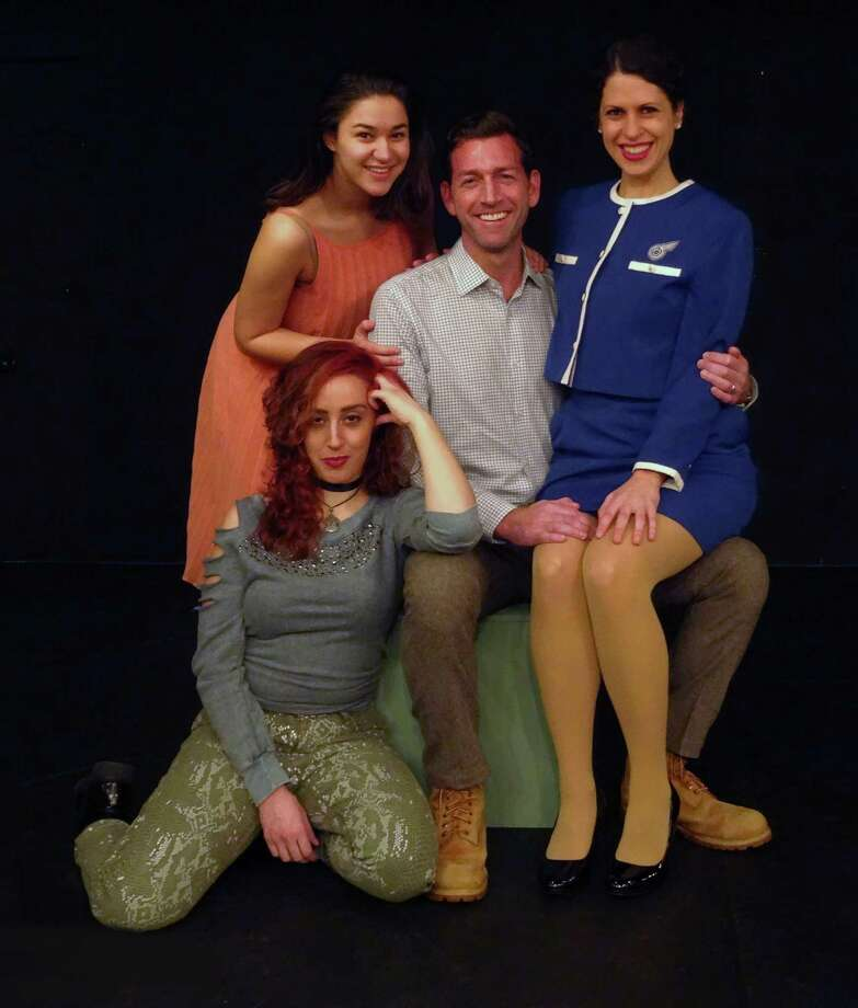 "The perpetual bachelor, Bobbie, is constantly surrounded by ""available"" women and many married friends in Stephen Sondheim and George Furth's ""Company."" The musical is on stage at Curtain Call's Dressing Room Theatre in Stamford. Seen here as Bobbie is John Congdon, with Anna Oxman (top left), Rachel Schulte (kneeling) and Lisa Dahlstrom. Photo: Contributed Photo"