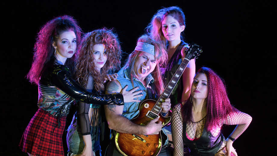 "From ""Rock of Ages"" on stage at the Warner Theatre, are Caitlin Barra, left, Leanna Scaglione, lead guitarist Mark Garthwait, Katie Chamberlin and Kaitlyn Anthony. Photo: Mandi Martini / Contributed Photo"