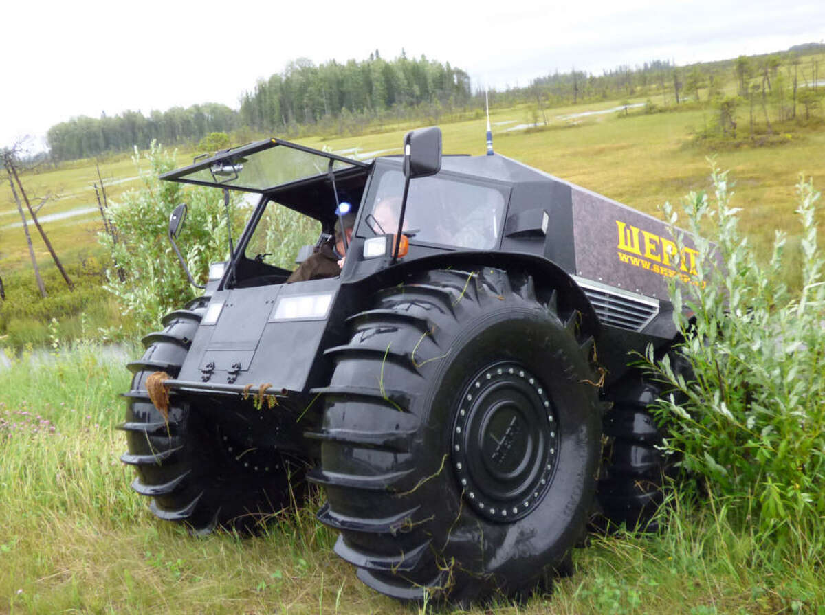 The SHERP ATV is the ultimate amphibious vehicle. The Russian-made vehicle can paddle over water and rollover anything on land. Source:SHERP