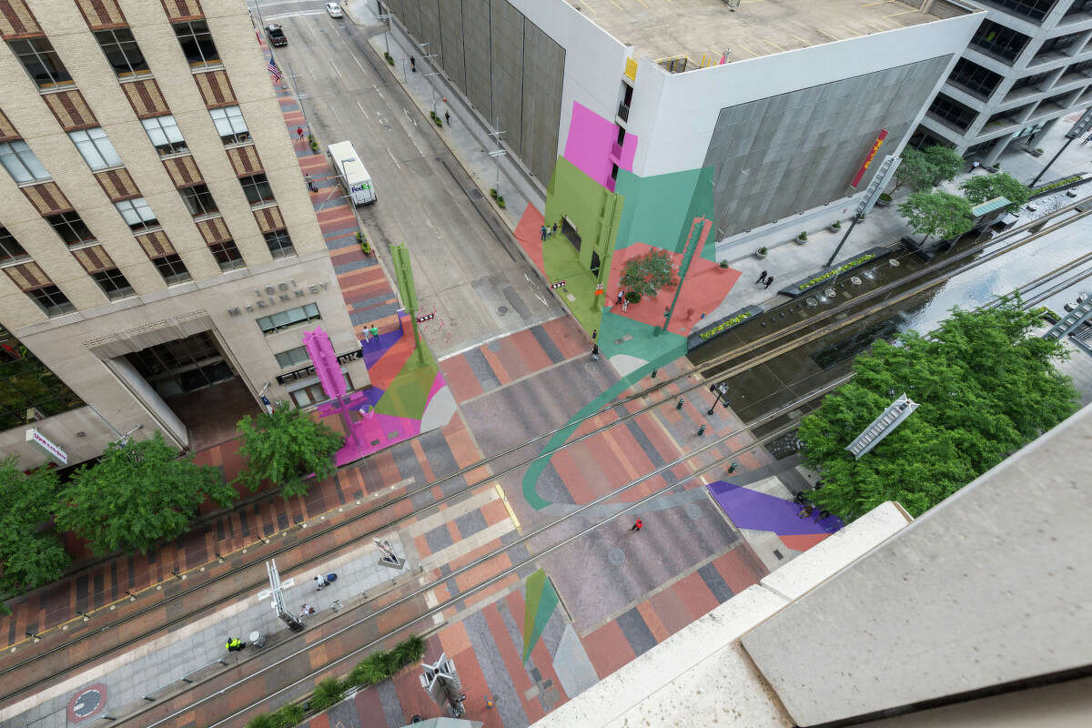 Color Jam Houston An urban architecture activation by Jessica Stockholder will paint the intersection and run up the walls of the buildings at Main & McKinney streets.