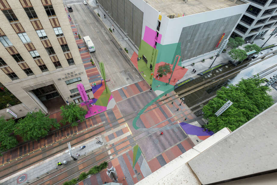 Color Jam HoustonAn urban architecture activation by Jessica Stockholder will paint the intersection and run up the walls of the buildings at Main & McKinney streets. Photo: Houston Downtown District