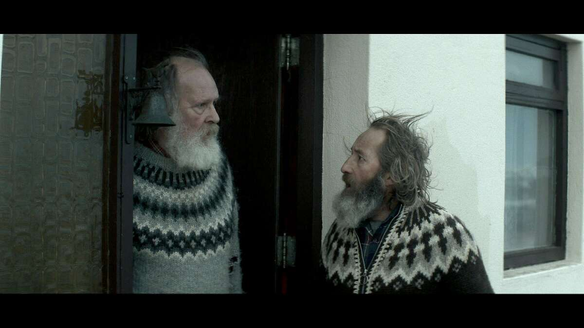 """Sigurdur Sigurjonsson (right) and Theodor Juliusson in the Icelandic movie """"Rams,"""" about sheep herder brothers in Iceland."""