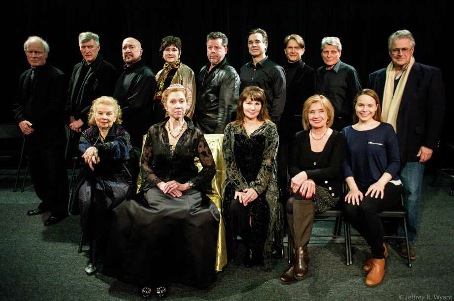 "DAC Stage is producing ""Shakespeare and the Heart's Desire,"" a play written by Mary Jane Schaefer that tells the story of a true event in Shakespeare's life. The case includes, front row, from left: Betty Jinnette, Emilie Roberts, Marca Leigh, Donna Wyant and Constance Koeper; and back row, from left: John O'Hern, Damian Langan,Tom Zingarelli, Schaefer, Allan Zeller, Joe Maker, Richard Weidlich, Scott Bruno and Mark Graham. Photo: Contributed Photo / Darien News"