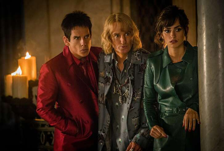 """In this image released by Paramount Pictures, Ben Stiller portrays Derek Zoolander, from left, Owen Wilson portrays Hansel and Penelope Cruz portrays Valentina Valencia in a scene from, """"Zoolander 2."""" (Philippe Antonello/Paramount Pictures via AP)"""
